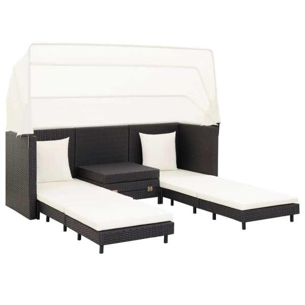 vidaXL Canapea extensibilă cu 3 locuri, cu acoperiș, negru, poliratan