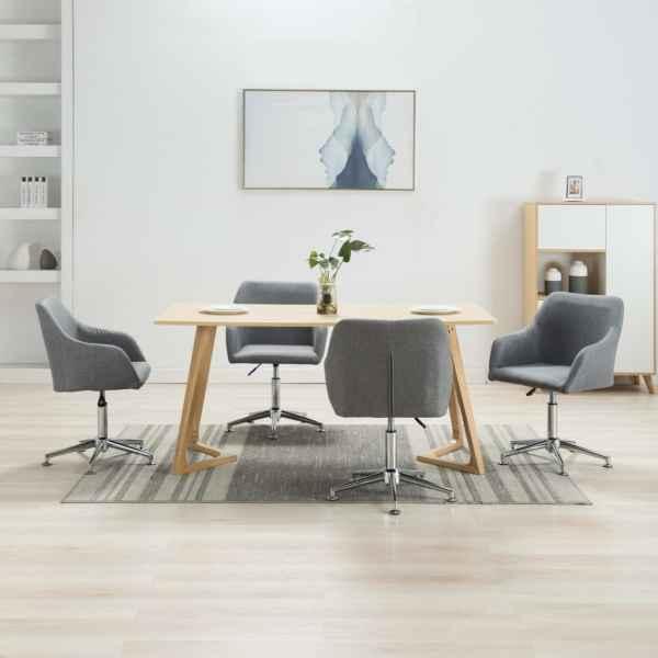vidaXL Scaune de sufragerie pivotante, 4 buc., gri deschis, textil