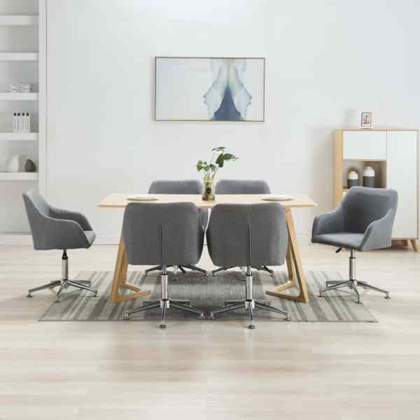 vidaXL Scaune de sufragerie pivotante, 6 buc., gri deschis, textil