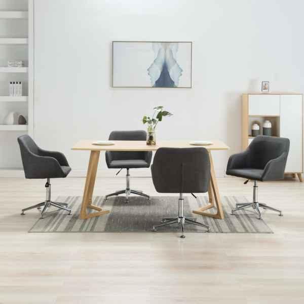 vidaXL Scaune de sufragerie pivotante, 4 buc., gri închis, textil
