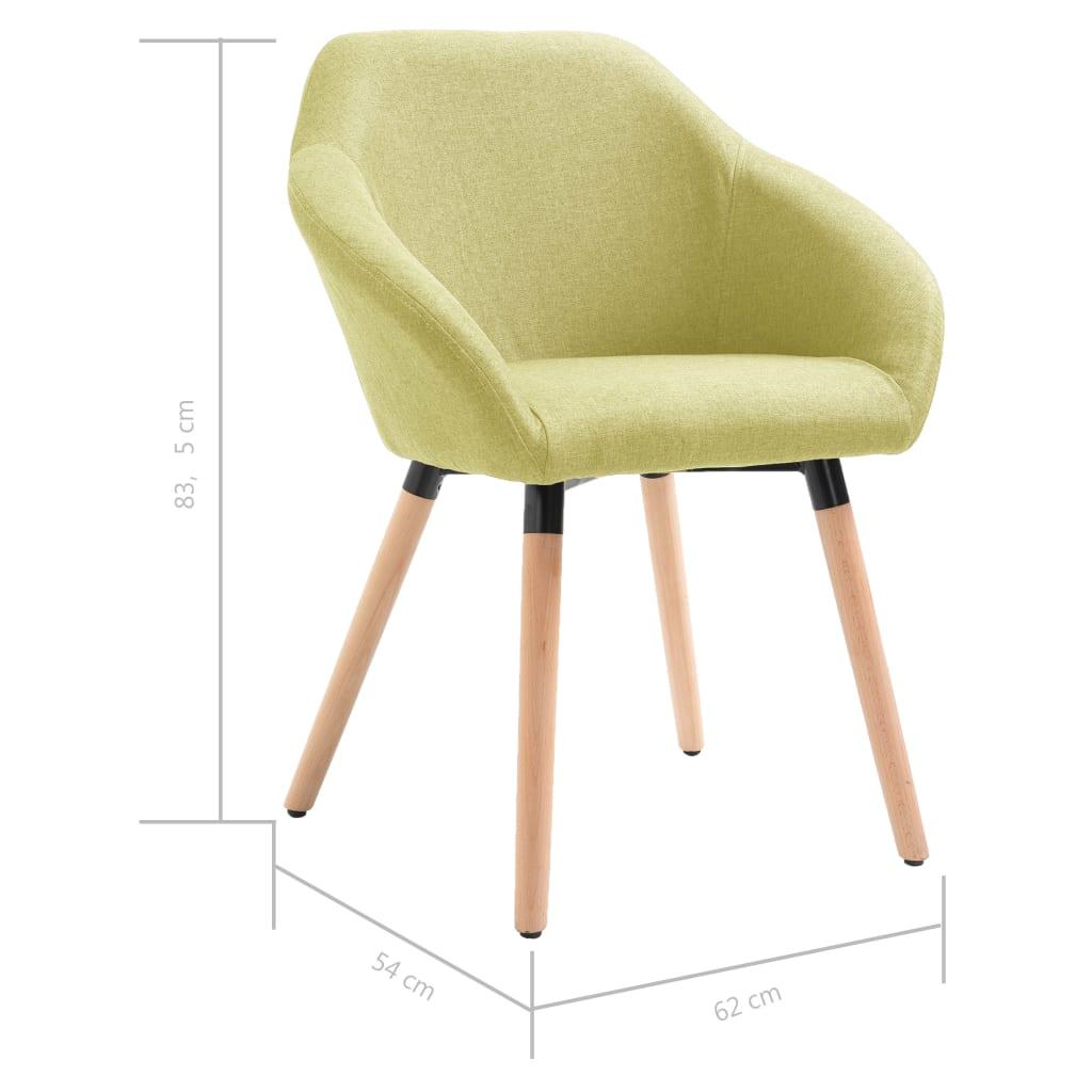 Scaune de sufragerie, 6 buc., verde, textil