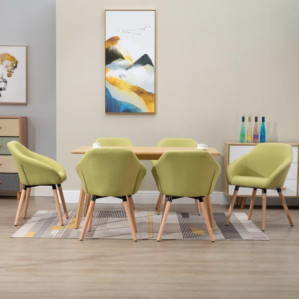 vidaXL Scaune de sufragerie, 6 buc., verde, textil