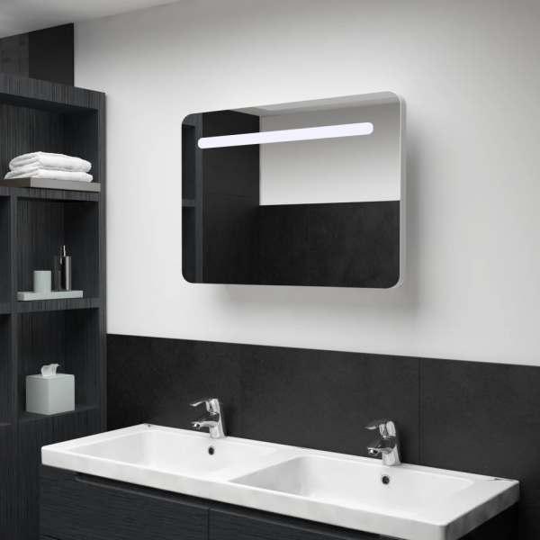 vidaXL Dulap de baie cu oglindă și LED, 80 x 11 x 55 cm
