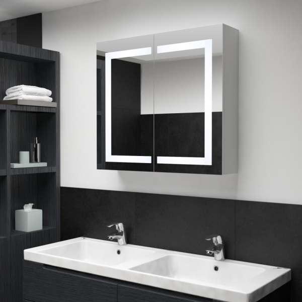 vidaXL Dulap de baie cu oglindă și LED, 80 x 12,2 x 68 cm