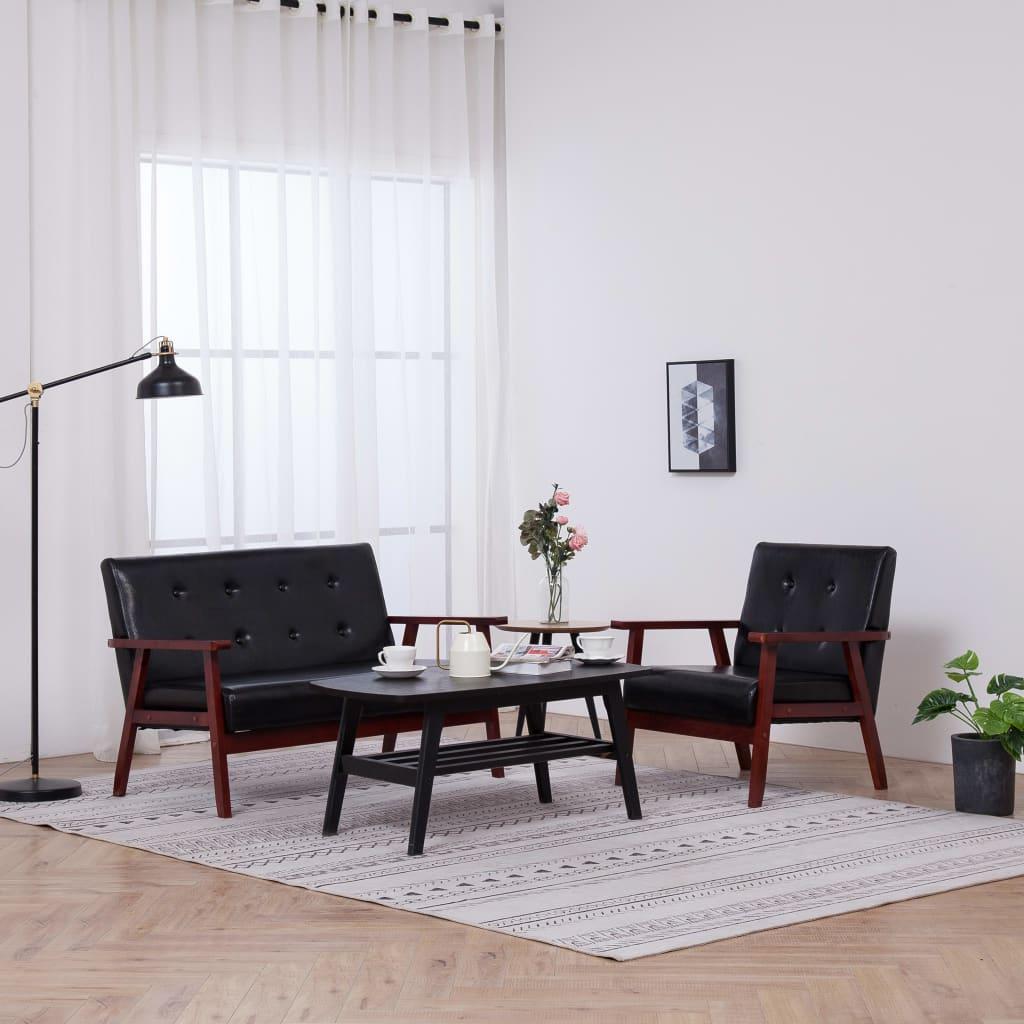 vidaXL Set canapea, 2 piese, negru, piele artificială