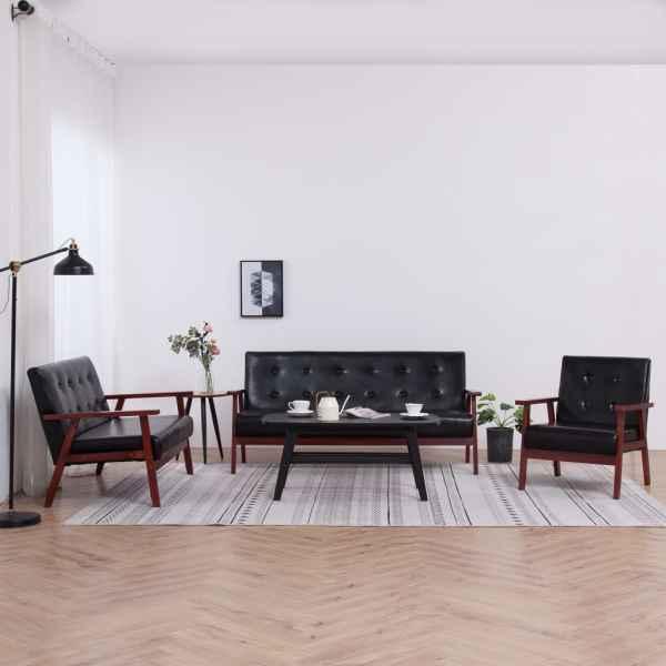 vidaXL Set canapea, 3 piese., negru, piele artificială