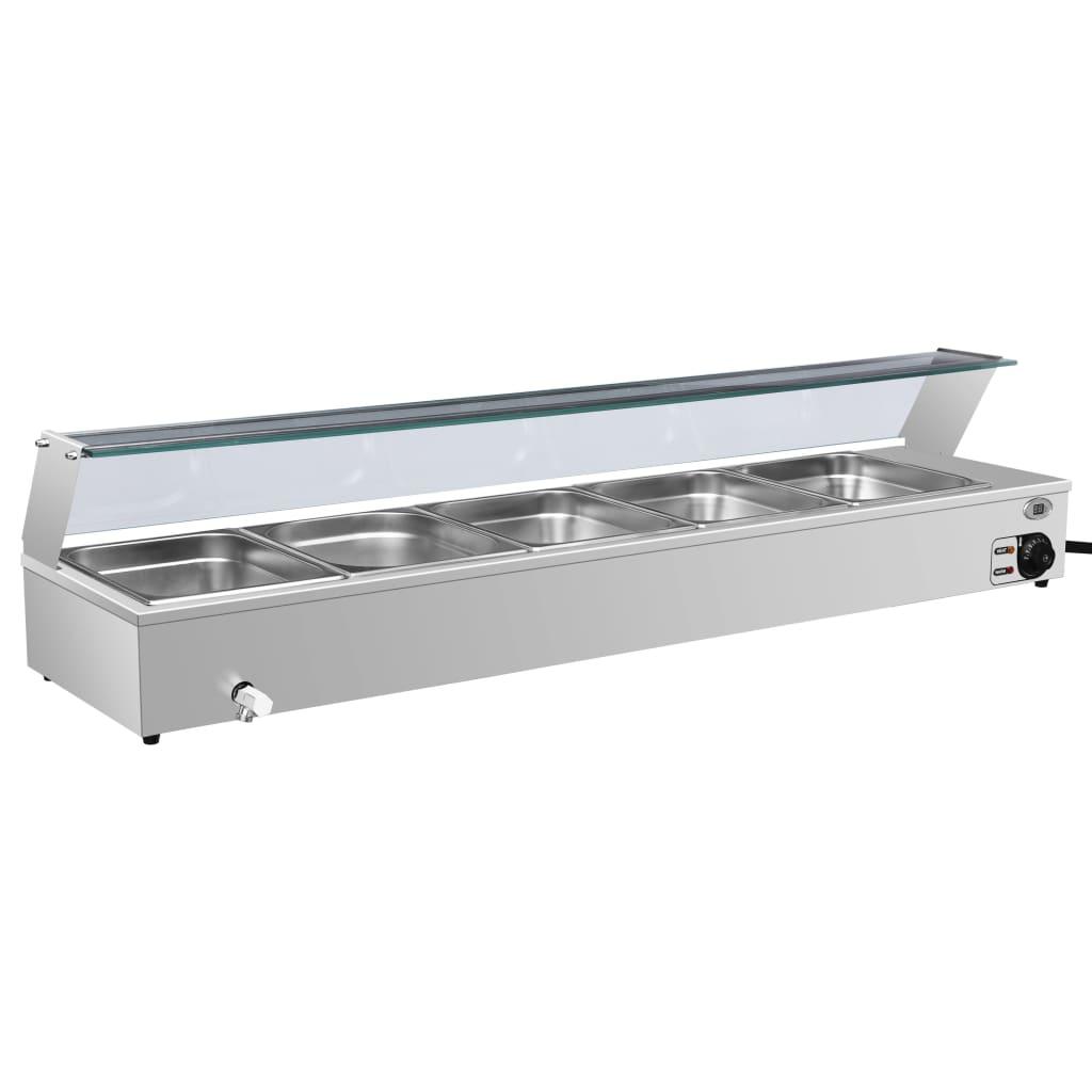 vidaXL Încălzitor Gastronorm bain marie 5 vase GN 1/2 oțel inoxidabil