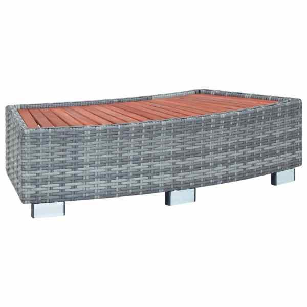 vidaXL Treaptă pentru spa, gri, 92 x 45 x 25 cm, poliratan
