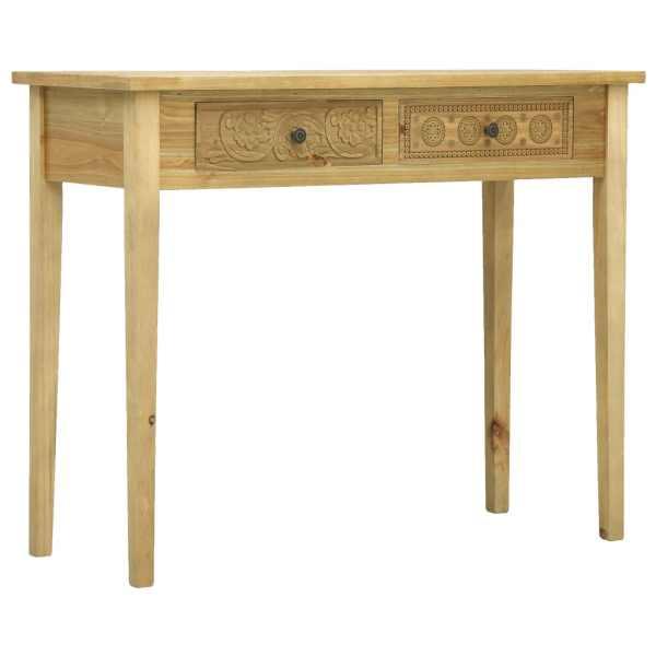 vidaXL Masă consolă cu 2 sertare sculptate, maro, 96x40x78 cm, lemn