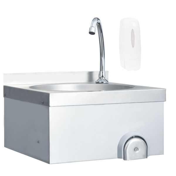 vidaXL Chiuvetă spălat mâini cu robinet dozator săpun, oțel inoxidabil