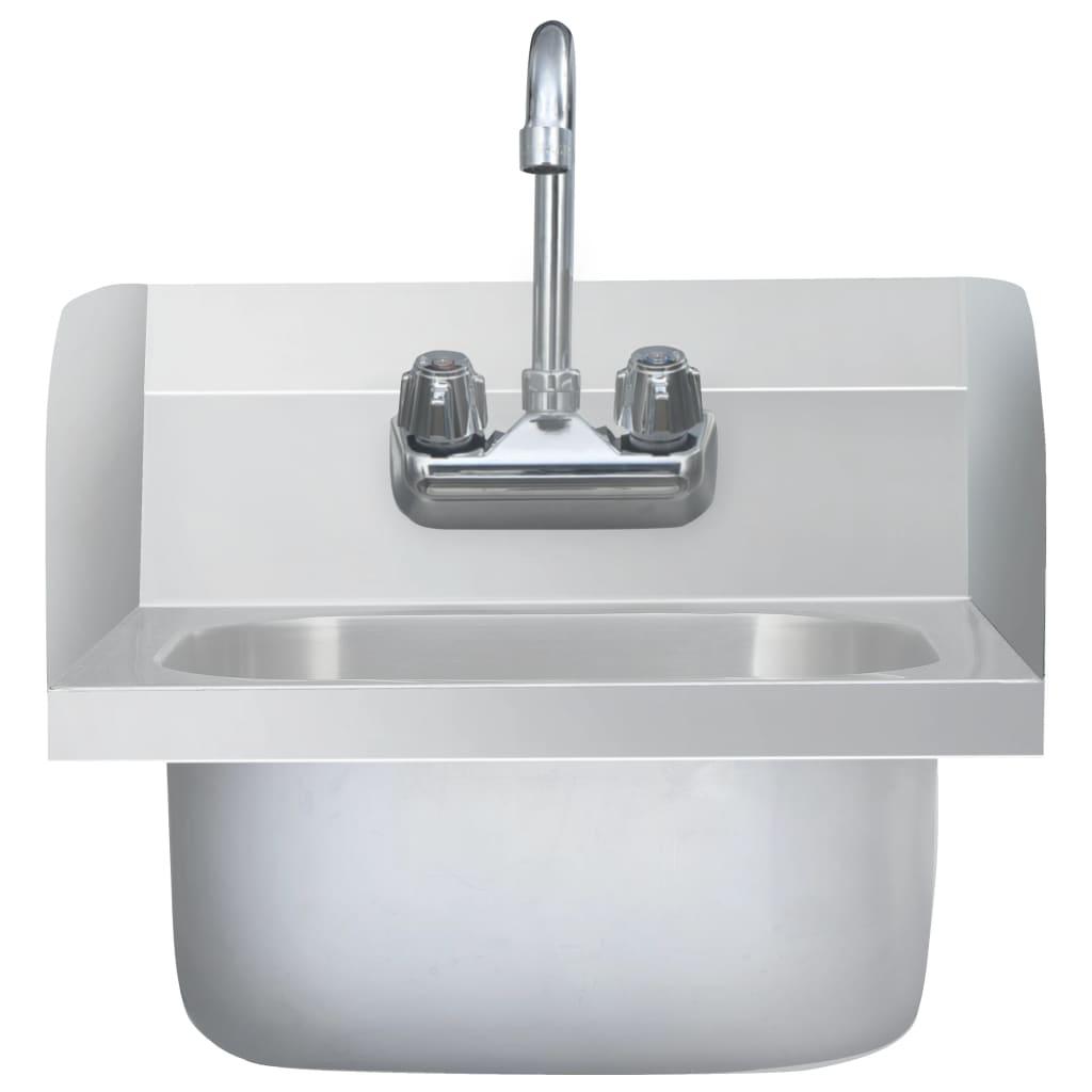 Chiuvetă spălat mâini comercială cu robinet, oțel inoxidabil