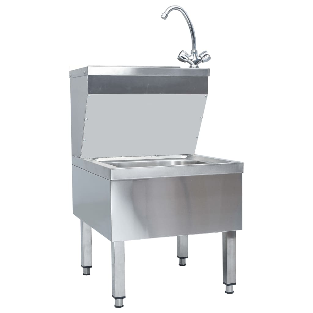 vidaXL Chiuvetă spălat mâini comercială cu robinet, oțel inoxidabil