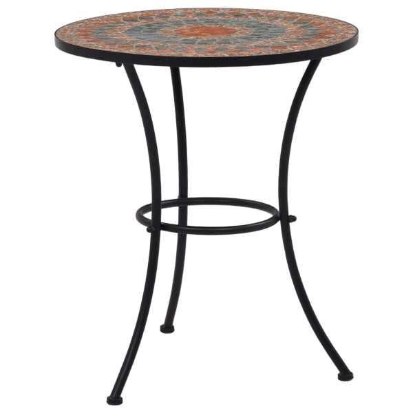 vidaXL Masă de bistro mozaic, portocaliu/gri, 60 cm, ceramică