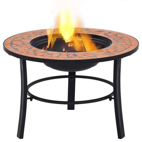 vidaXL Vatră de foc cu mozaic, cărămiziu, 68 cm, ceramică