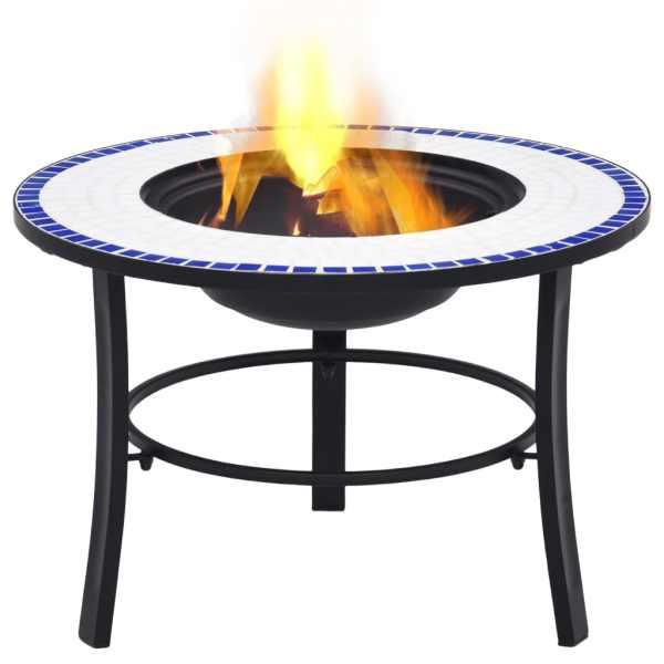 vidaXL Vatră de foc cu mozaic, albastru & alb, 68 cm, ceramică