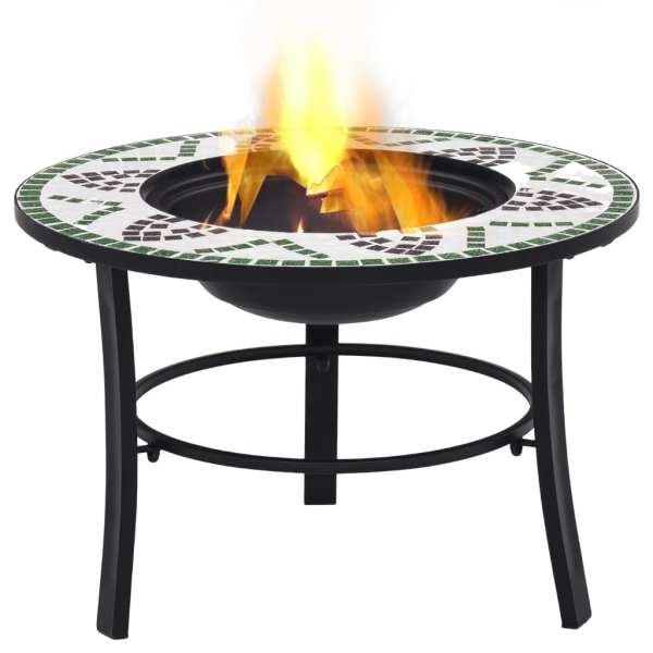 vidaXL Vatră de foc cu mozaic, verde, 68 cm, ceramică