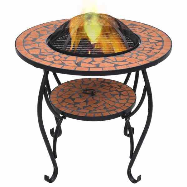vidaXL Masă cu vatră de foc, mozaic, cărămiziu, 68 cm, ceramică