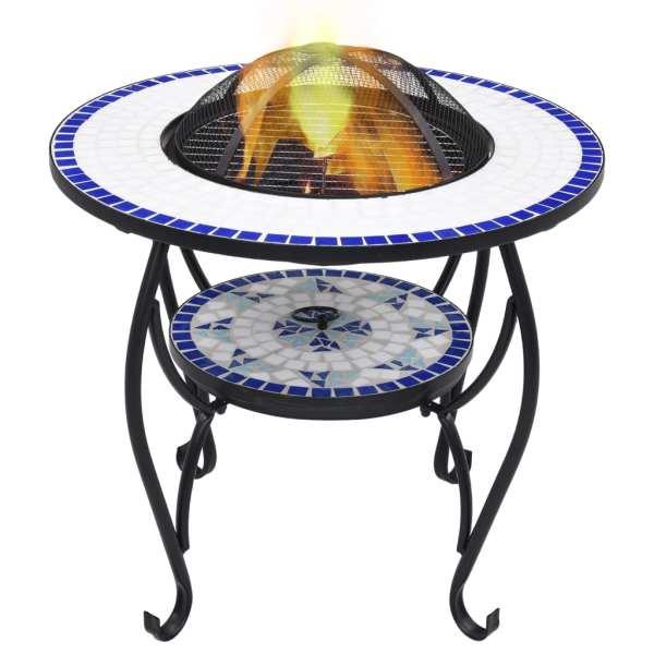 vidaXL Masă cu vatră de foc, mozaic, albastru și alb, 68 cm, ceramică