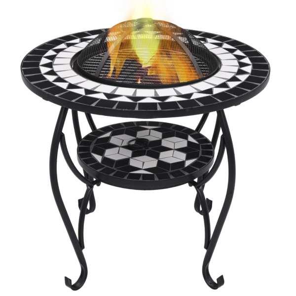 vidaXL Masă cu vatră de foc, mozaic, negru și alb, 68 cm, ceramică