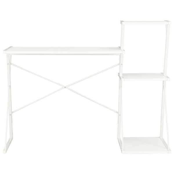 vidaXL Birou cu raft, alb, 116 x 50 x 93 cm
