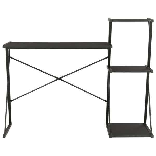 Birou cu raft, negru, 116 x 50 x 93 cm