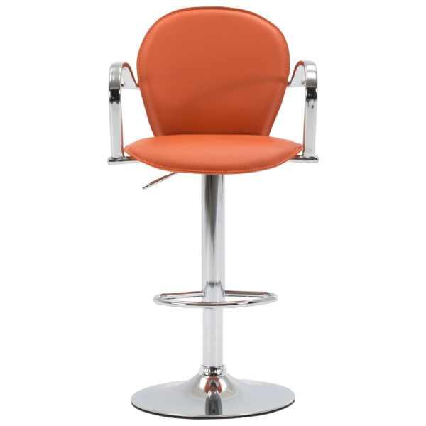 Scaun de bar cu brațe, portocaliu, piele ecologică