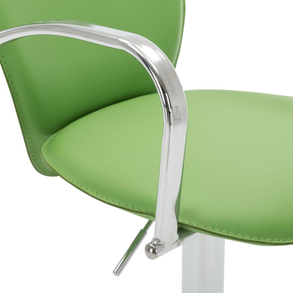 vidaXL Scaune de bar cu brațe, 2 buc., verde, piele ecologică