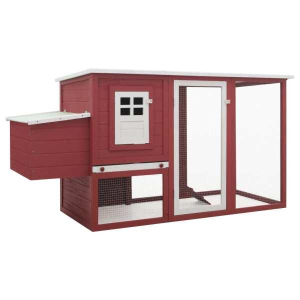 vidaXL Coteț de exterior pentru găini coteț păsări 1 cuibar roșu lemn