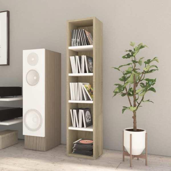 vidaXL Dulap pentru CD-uri, alb și stejar Sonoma, 21x16x93,5 cm, PAL