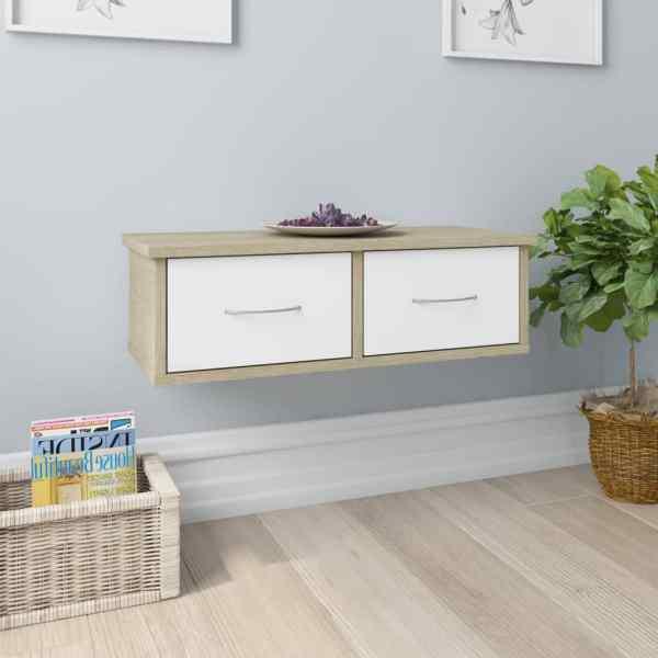 vidaXL Dulap de perete cu sertare, alb și stejar, 60x26x18,5 cm, PAL