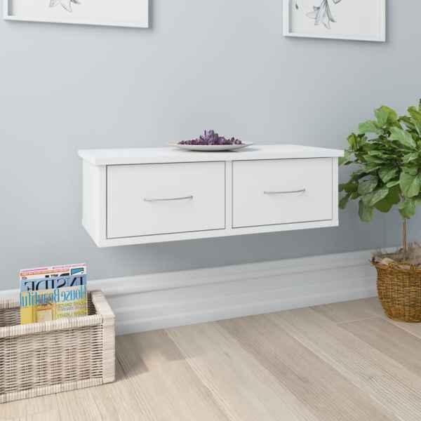 vidaXL Dulap de perete cu sertare, alb extralucios, 60x26x18,5 cm, PAL