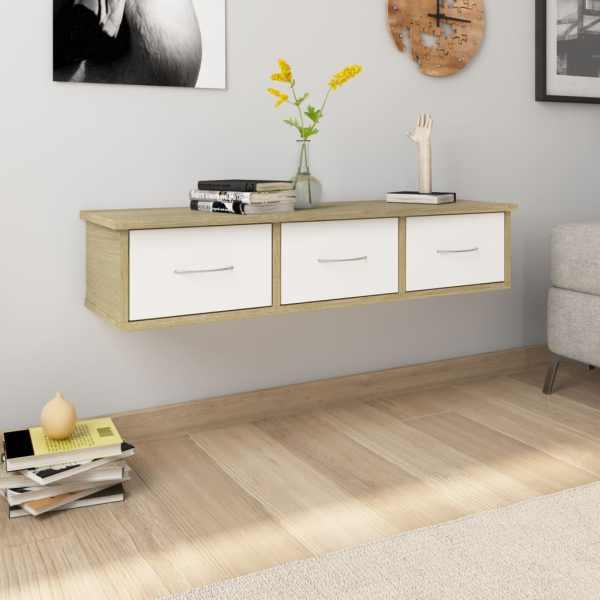 vidaXL Dulap de perete cu sertare, alb și stejar, 88x26x18,5 cm, PAL