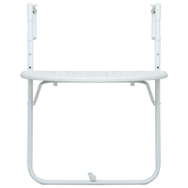 vidaXL Masă balcon suspendată alb 60x64x83,5 cm plastic aspect ratan