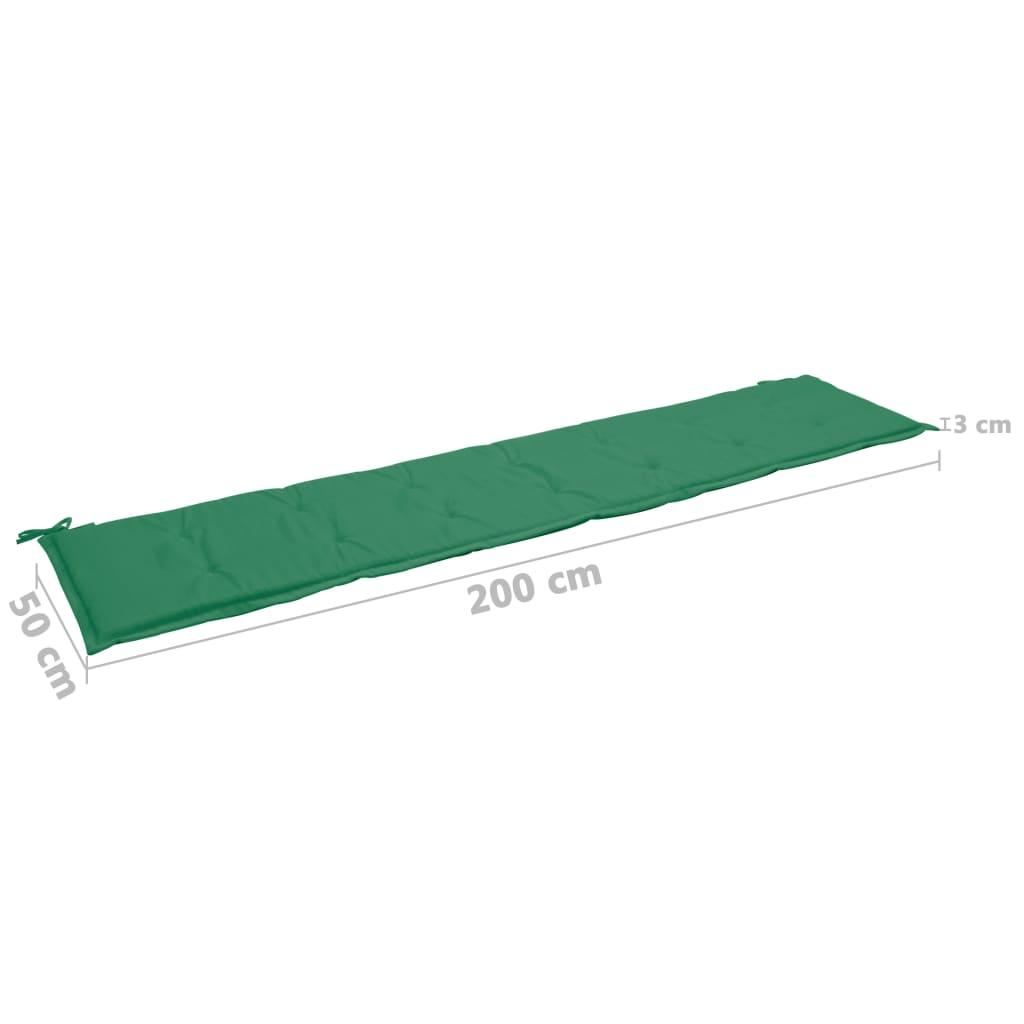 Pernă pentru bancă de grădină, verde, 200 x 50 x 3 cm