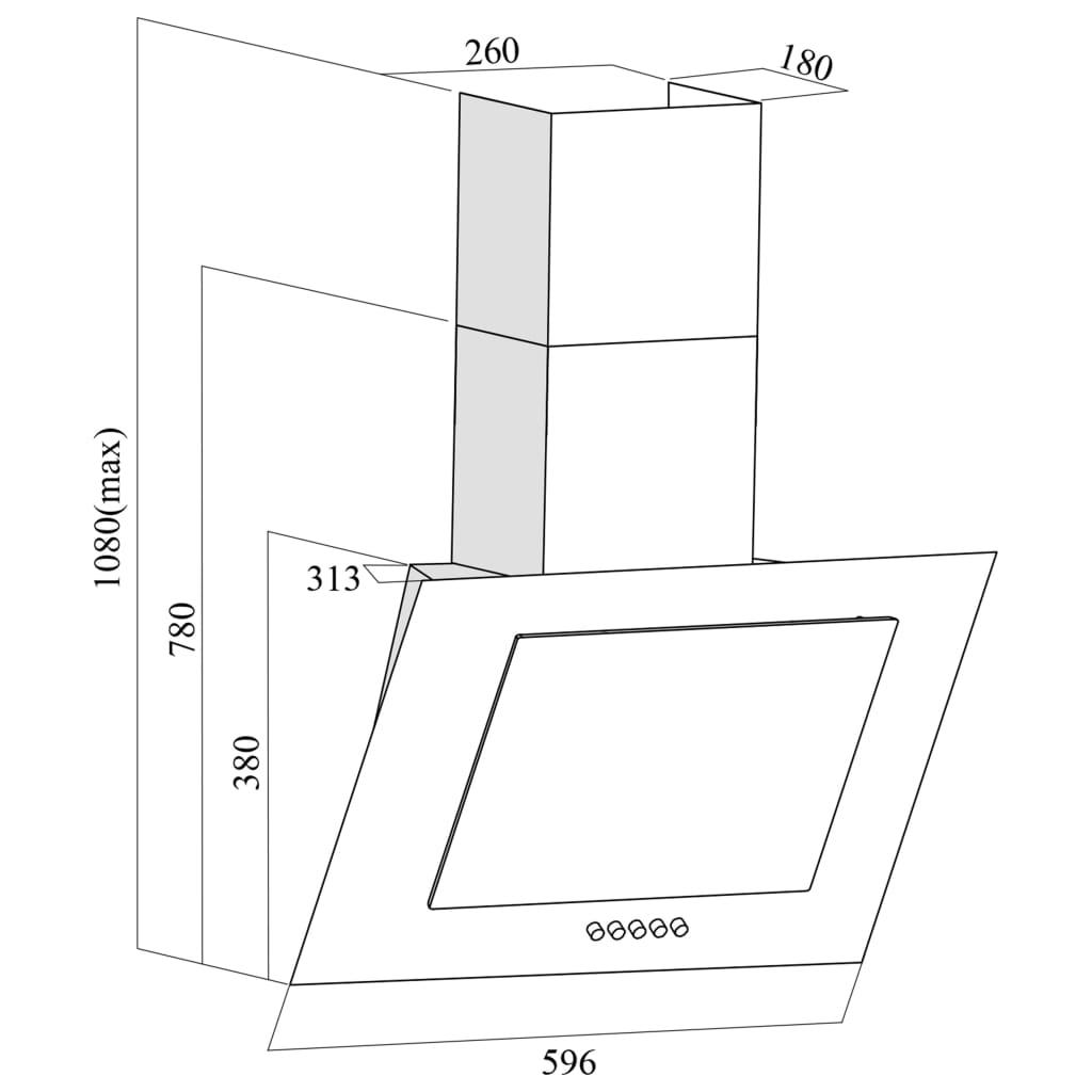 Hotă de perete negru 60 cm oțel inoxidabil și sticlă securizată