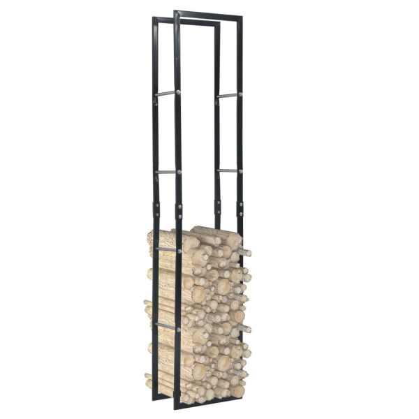 vidaXL Rastel pentru lemne de foc, negru, 40x25x200 cm, oțel