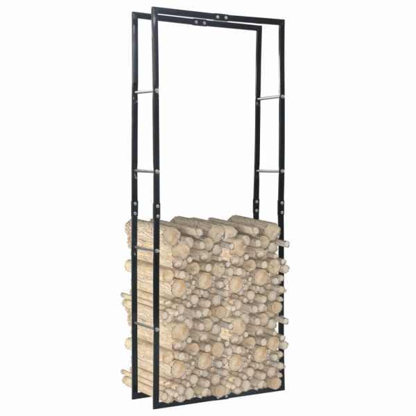 vidaXL Rastel pentru lemne de foc, negru, 80x25x200 cm, oțel