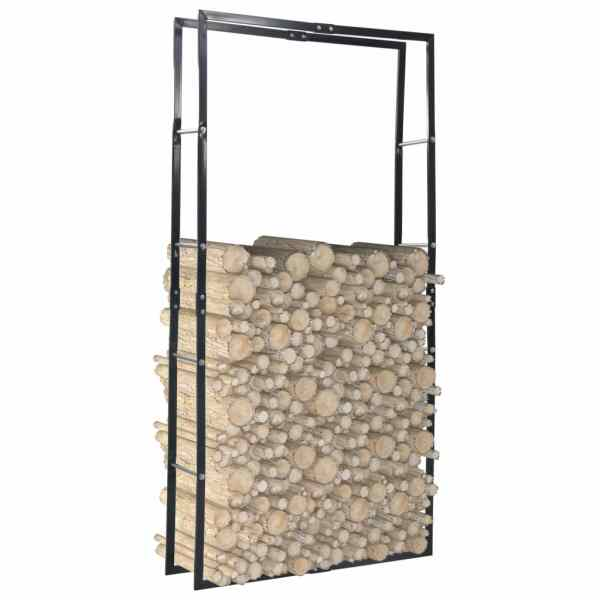 vidaXL Rastel pentru lemne de foc, negru, 100x25x200 cm, oțel