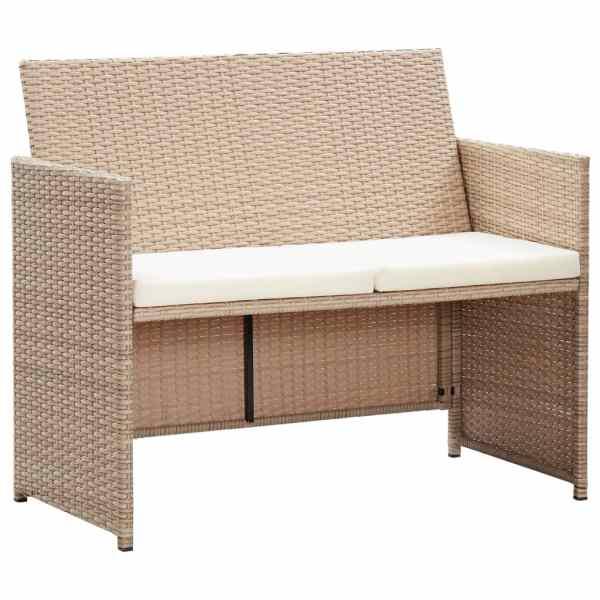 vidaXL Canapea de grădină cu perne, 2 locuri, bej, poliratan