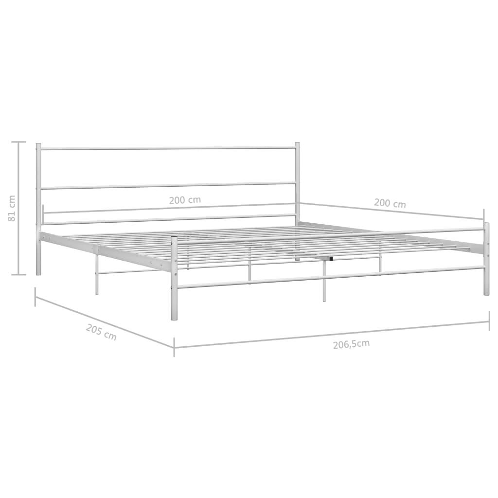Cadru de pat, alb, 200 x 200 cm, metal