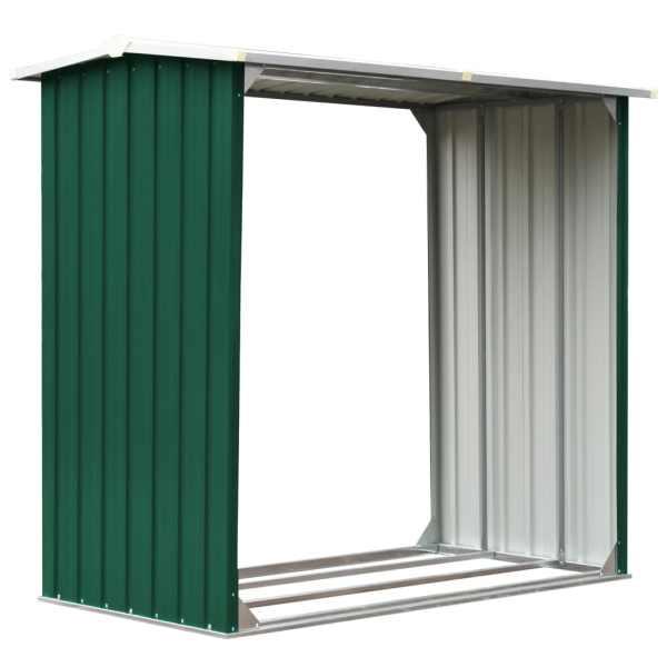 vidaXL Șopron depozitare lemne, verde, 172x91x154 cm, oțel galvanizat
