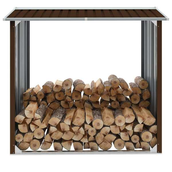vidaXL Șopron depozitare lemne, maro, 172x91x154 cm, oțel galvanizat