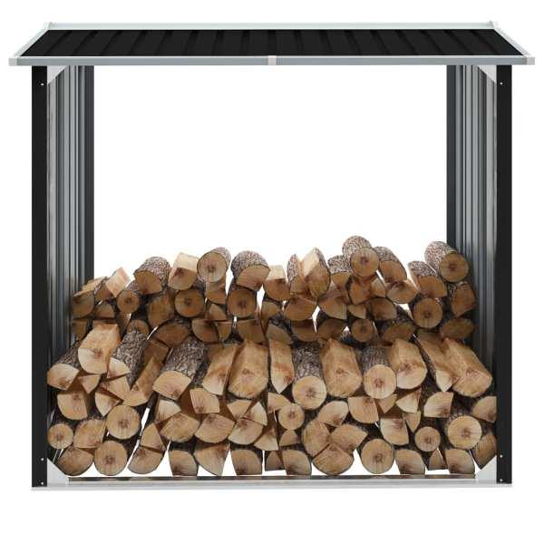 vidaXL Șopron depozitare lemne antracit 172x91x154 cm oțel galvanizat