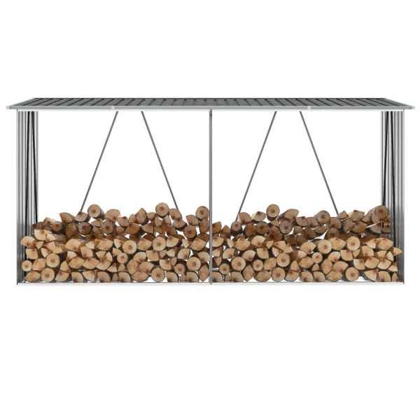 vidaXL Șopron depozitare lemne antracit 330x84x152 cm oțel galvanizat