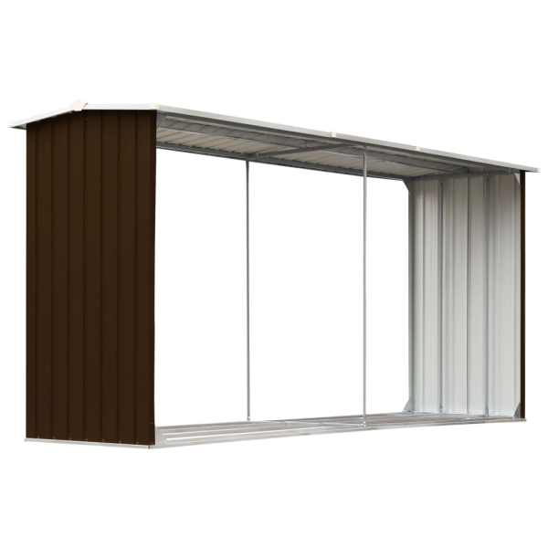 Șopron depozitare lemne, maro, 330x92x153 cm, oțel galvanizat