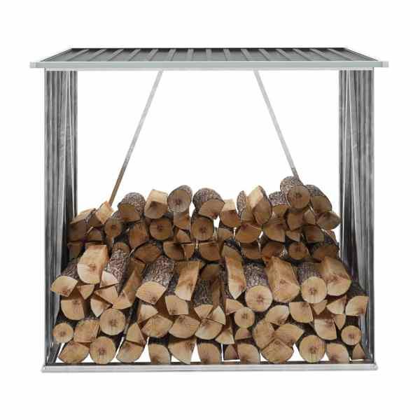 vidaXL Șopron de lemne de grădină, gri, 163x83x154 cm, oțel galvanizat