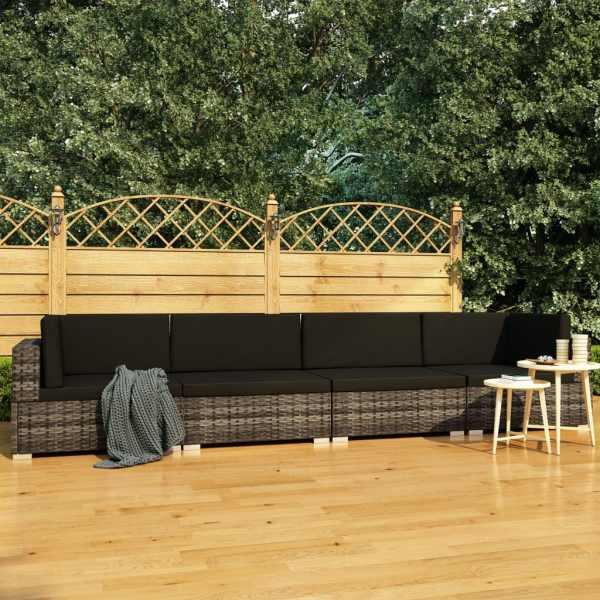 vidaXL Set canapele de grădină cu perne, 4 piese, gri, poliratan