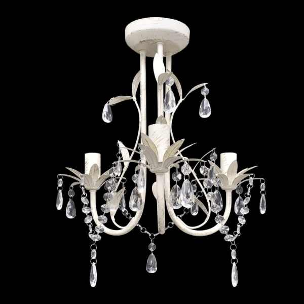Candelabre suspendate de plafon cu cristale 2 buc. alb elegant