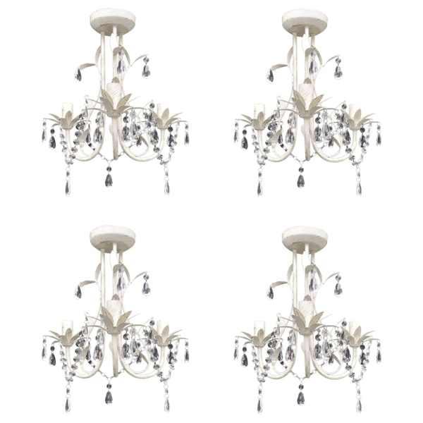 vidaXL Candelabre suspendate de plafon cu cristale 4 buc. alb elegant