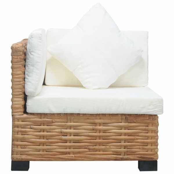 vidaXL Canapea de colț cu perne, ratan natural